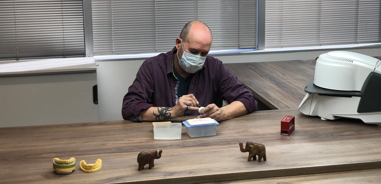 dental lab working on implants